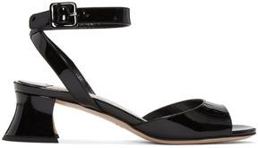 Miu Miu Black Patent Leather Heeled Sandals