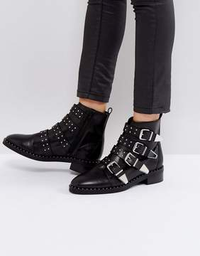 Office Academic Leather Stud Buckle Boots