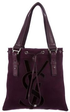 Saint Laurent Monogram Canvas Tote - PURPLE - STYLE