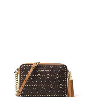 MICHAEL Michael Kors Ginny Medium Studded Camera Bag - BROWN - STYLE