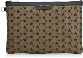 Jimmy Choo DEREK Olive Leather Document Holder with Black Stars
