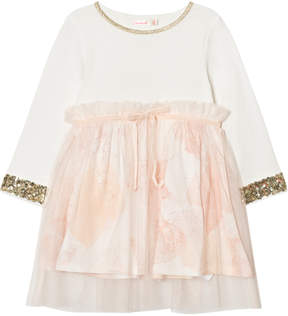 Billieblush White and Pale Pink Sequin and Floral Party Dress