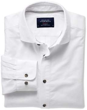 Charles Tyrwhitt Slim Fit Spread Collar Popover White Cotton Casual Shirt Single Cuff Size Large