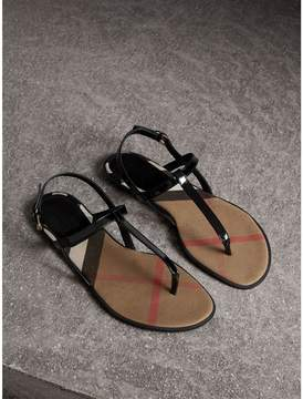 Burberry House Check-lined Leather Sandals