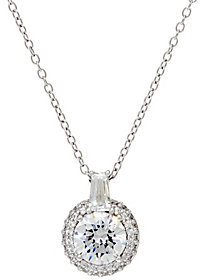 Diamonique As Is Pave Halo Pendant w/ Chain, Sterling or 14K Clad