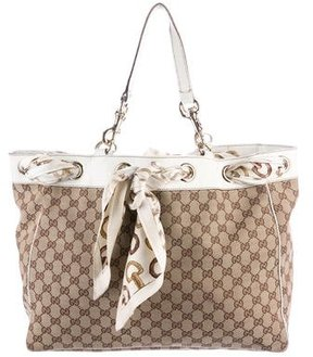 Gucci Large Positano Scarf Tote - BROWN - STYLE