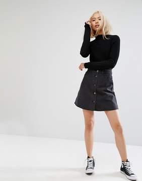 Noisy May Short Denim Button Through Skater Skirt
