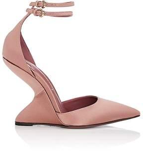 Salvatore Ferragamo Women's Sculpted-Heel Satin Ankle-Strap Pumps