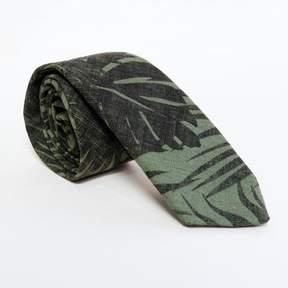 Blade + Blue Olive Green Botanical Print Tie