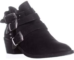 Dolce Vita Spur Double Buckle Ankle Booties, Black Leather.