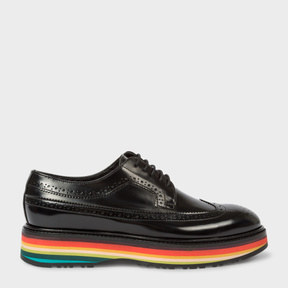 Paul Smith Women's Black Leather 'Grand' Brogues With 'Artist Stripe' Soles