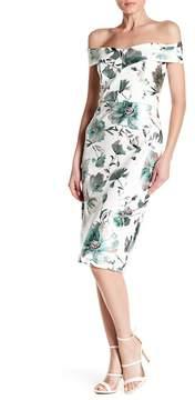 ECI Foil Floral Print Scuba Dress