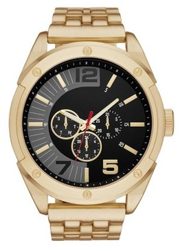 Mossimo Men's Five Link Bracelet Watch Gold/Black L