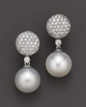 Bloomingdale's Cultured White South Sea Pearl and Diamond Drop Earrings in 14K White Gold, 11mm