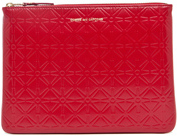 Comme des Garcons Star Embossed Pouch in Red,Geometric Print.
