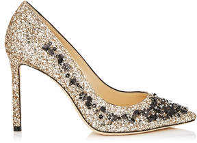 Jimmy Choo ROMY 100 Gold Coarse Glitter Fabric Pointy Toe Pumps with Black Sequin Embroidery