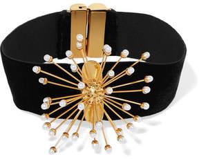 Ellery Rainbow Wheels Velvet, Gold-plated And Pearl Choker - Black