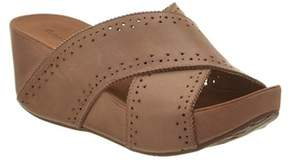 Chocolat Blu Mysti Leather Wedge Sandal.