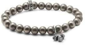 King Baby Studio Pyrite Rivet Cross Beaded Bracelet