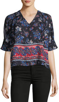 Collective Concepts V-Neck Side-Ties Top, Blue Pattern