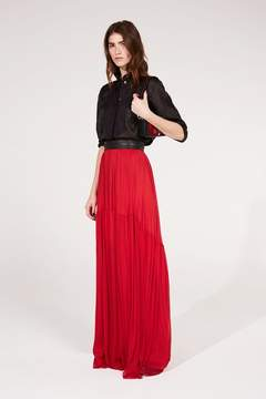 Amanda Wakeley | Red Silk Tulle Skirt | L | Red