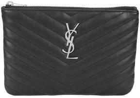 Saint Laurent Monogram quilted pouch - BLACK - STYLE