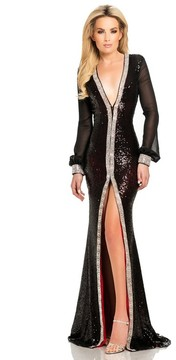 Johnathan Kayne 8027 Long Sleeve Sequined Evening Gown