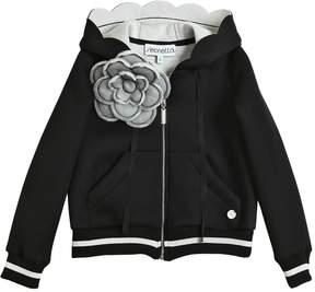 Simonetta Hooded Zip Up Neoprene Sweatshirt