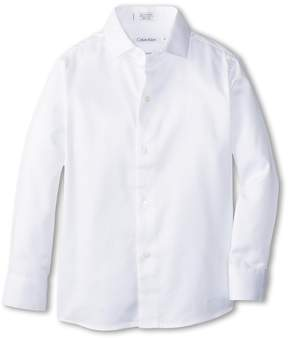 Calvin Klein Kids Sateen Shirt Boy's Long Sleeve Button Up