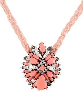 Shourouk Ikat Rose Crystal Pendant Necklace