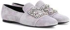 Roger Vivier Flower Strass suede loafers