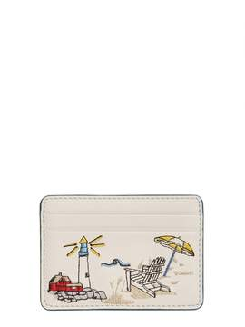 Tory Burch East Coast Embroidery Card Holder - BEIGE - STYLE
