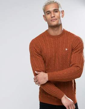 Jack Wills Marlow Merino Cable Knit Crew Neck Sweater In Rust