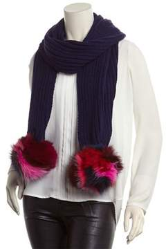 Jocelyn Navy Rib-knit Scarf.