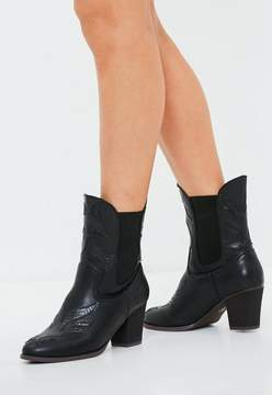 Missguided Black Snake Pattern Detail Cowboy Boots