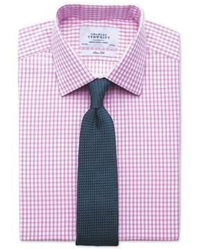 Charles Tyrwhitt Slim Fit Gingham Pink Cotton Dress Shirt French Cuff Size 15/35
