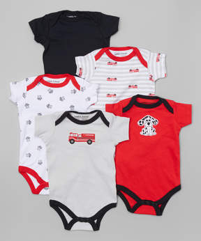 Luvable Friends Red & Black Firetruck Bodysuit Set - Newborn & Infant