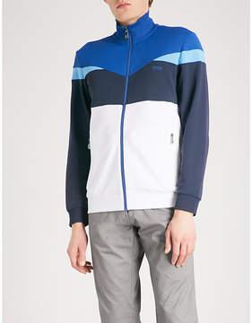 BOSS GREEN Colour-blocked jersey zip-up sweatshirt