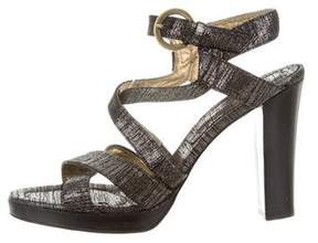 Barbara Bui Metallic Sueded Multistrap Sandals