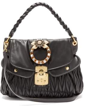 Miu Miu Coffer Mattelasse Leather Cross Body Bag - Womens - Black