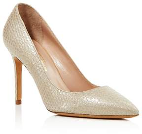 Charles David Genesis Metallic Snake Embossed Pointed Toe High Heel Pumps