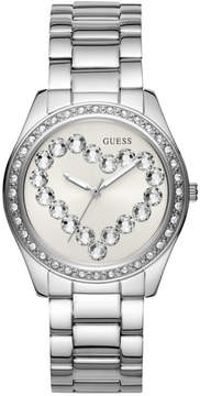 GUESS Silver-Tone and Rhinestone Heart Watch