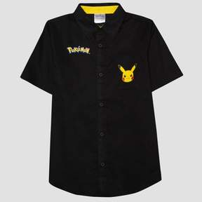 Pokemon Boys' Button Down Shirt - Black