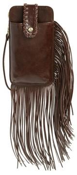 Hobo Women's Plume Fringe Calfskin Leather Smartphone Wristlet - Brown