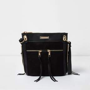 River Island Womens Black zip front mini messenger bag