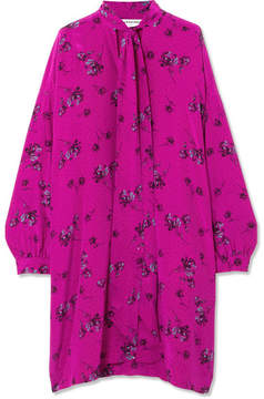 Balenciaga Vareuse Pussy-bow Printed Silk Crepe De Chine Dress - Pink