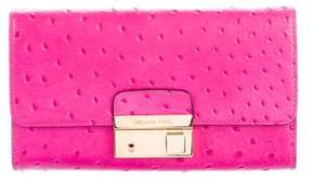 Michael Kors Gia Embossed Leather Clutch - PINK - STYLE