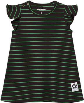 Mini Rodini Black and Green Stripe Wing Sleeve Dress