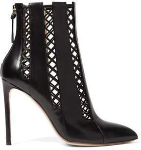 Francesco Russo Lattice-Paneled Leather Ankle Boots