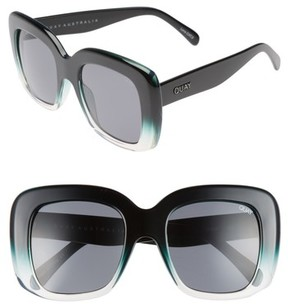 Quay Women's Day After Day 53Mm Square Sunglasses - Black/ Green Smoke